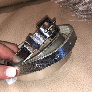 Target Metallic Silver Leather Belt